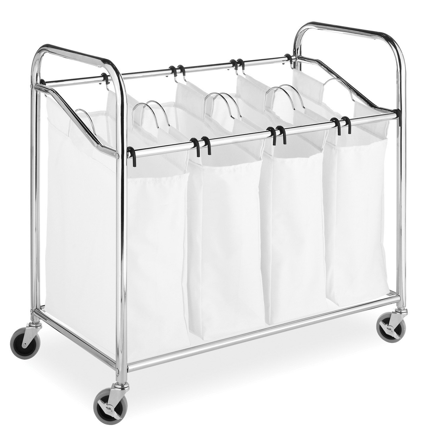 Whitmor 4 Section Rolling Laundry Sorter - 4 Removable Heavy Duty Bags - Chrome by Whitmor