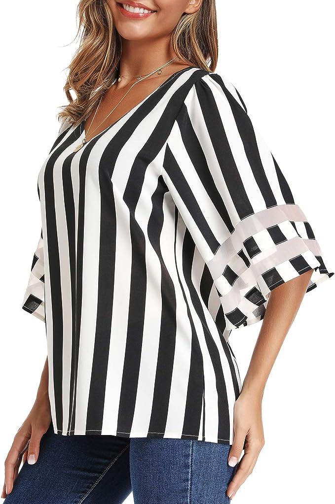 APEIYU Womens Striped V Neck Mesh Panel Blouse 3//4 Bell Sleeve Loose Shirt Summer Tops