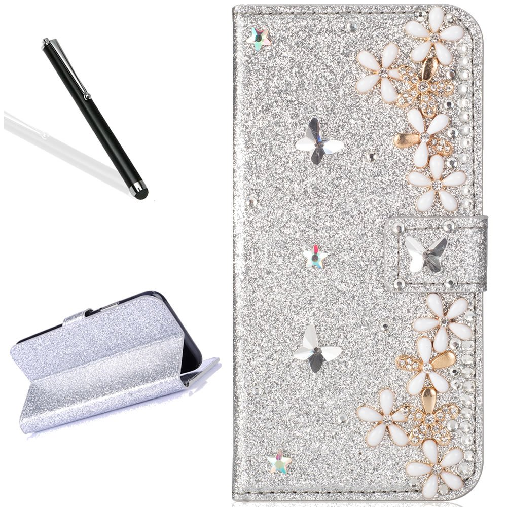 Galaxy S9 Diamand Case,Bling Glitter Folio Case for Samsung S9,Leecase Luxury Noble Sparkle Shining Silver Butterfly Flower Pattern Protect Cover for Samsung Galaxy S9