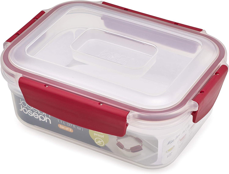Joseph Joseph Nest Lock Plastic Food Storage Container Set with Lockable Airtight Leakproof Lids, 2-Piece Set/37oz, Red