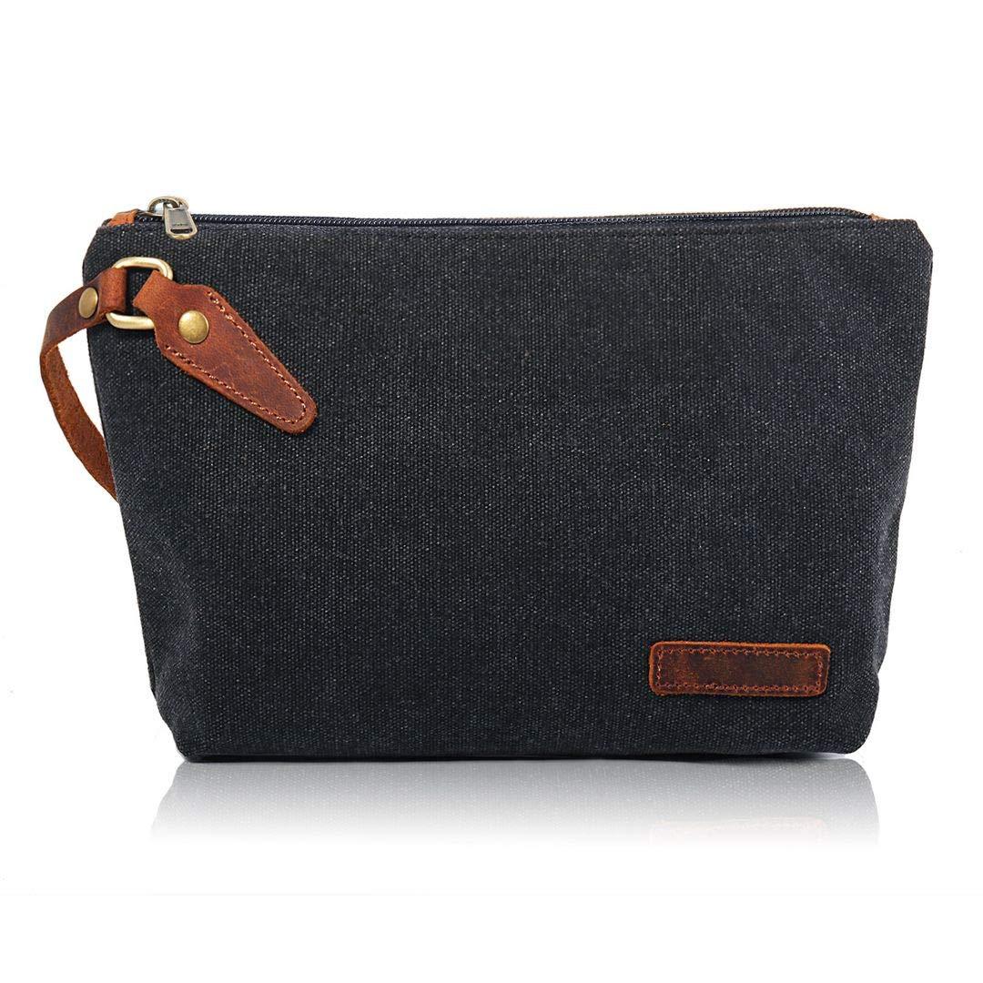 Zeamoco Canvas Clutch Purse Wristlet Pouch Wallet Large Makeup bag with Leather Strap Phone Handbag for Women Men