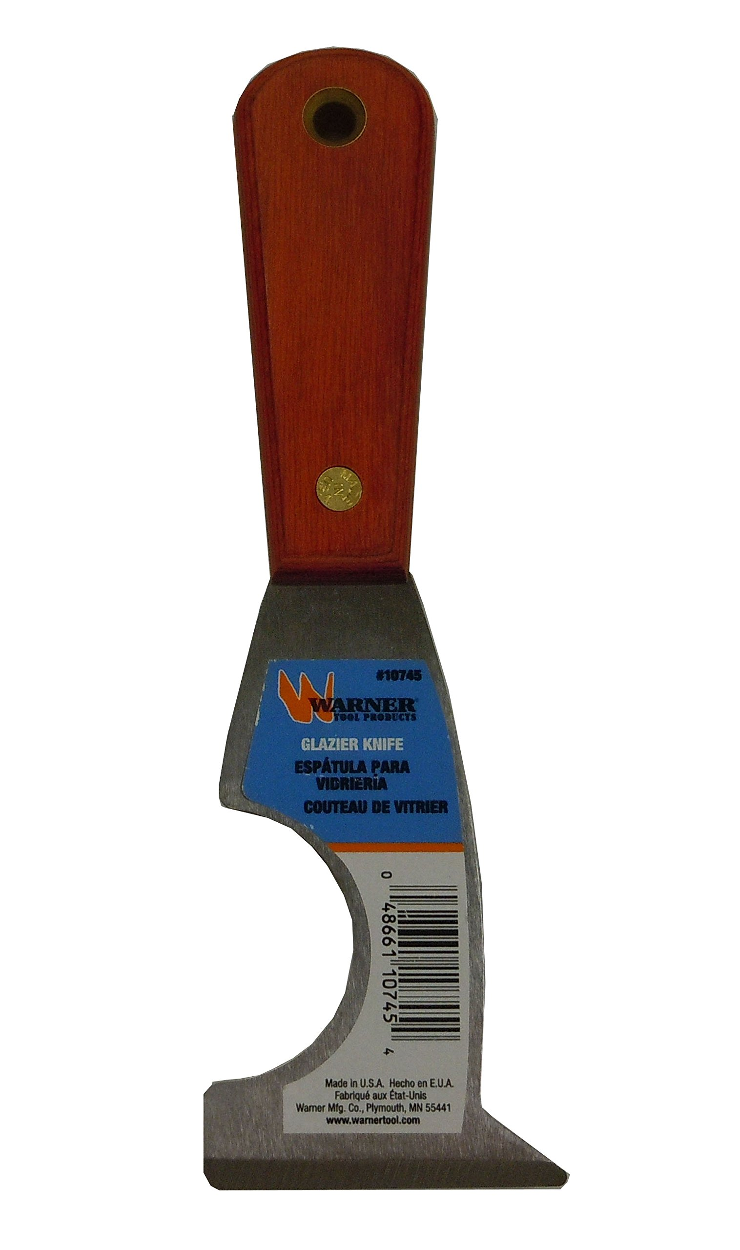Warner 5-in-1 Stiff Glazier Knife, Stainless Steel Blade, Rosewood Series, 10745