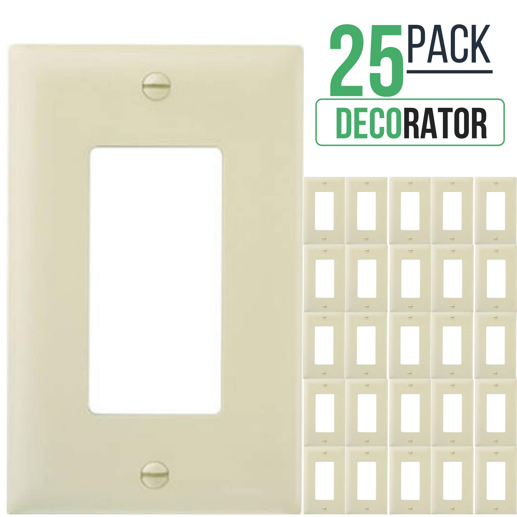 Decorator Switch Wall Plate, 1-Gang Standard Size, for Paddle Rockers, GFCI Devices, Timers, Dimmers, Sensors, Unbreakable Polycarbonate (25 Pack, Ivory)