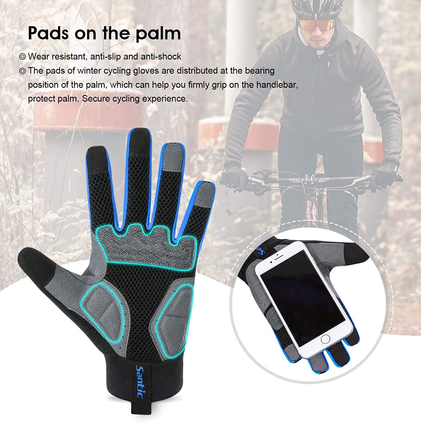 Santic Cycling Gloves Windproof Bike Bicycle Motorcycle Gloves Gel Pads for Women and Men