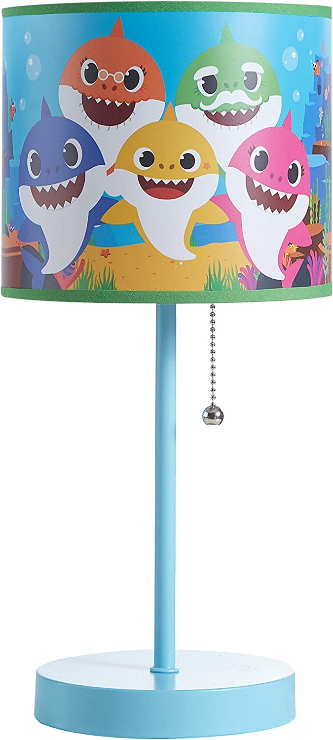 Idea Nuova Baby Shark Stick Table Kids Lamp with Pull Chain, Themed Printed Decorative Shade