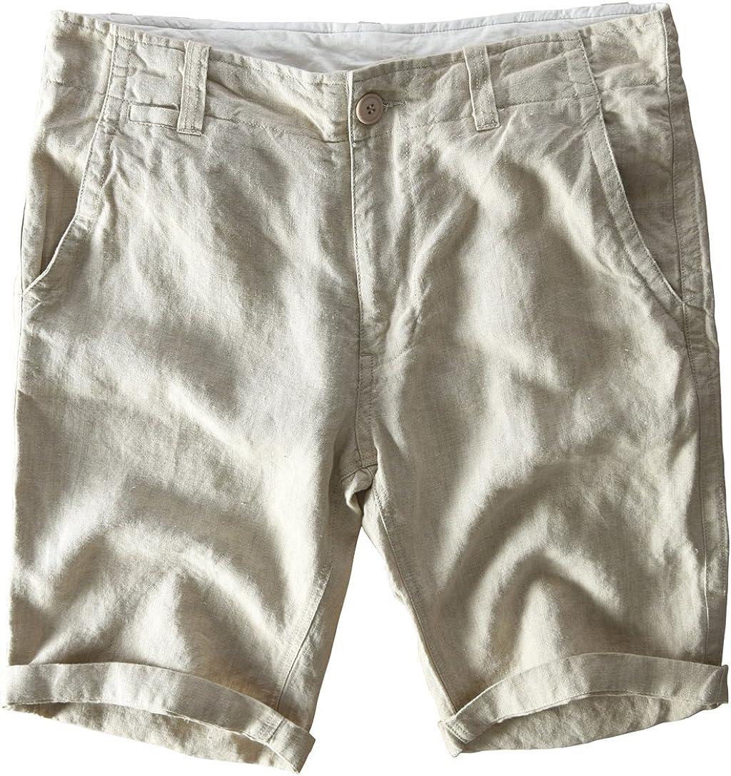 utcoco Mens Casual Drawstring Knitted Waist Flat Front Linen Beach Shorts