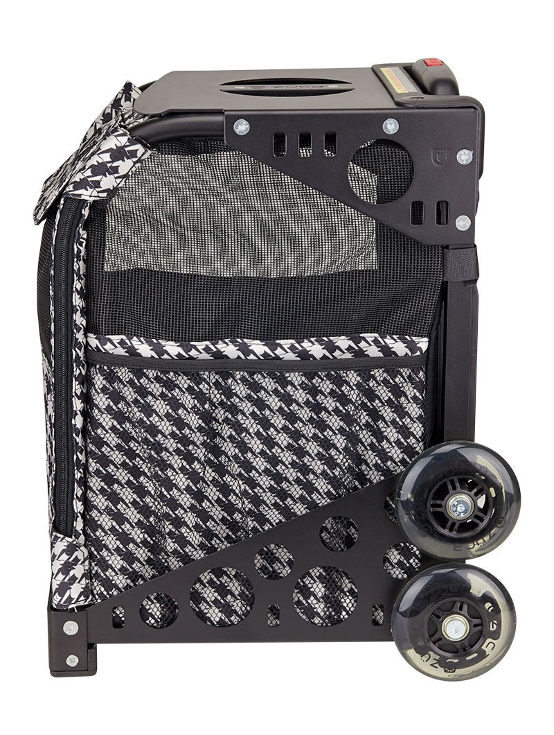 ZUCA Rolling Pet Carrier - Houndstooth Black Bag with Black Sport Frame and Flashing Wheels by ZUCA (Image #4)