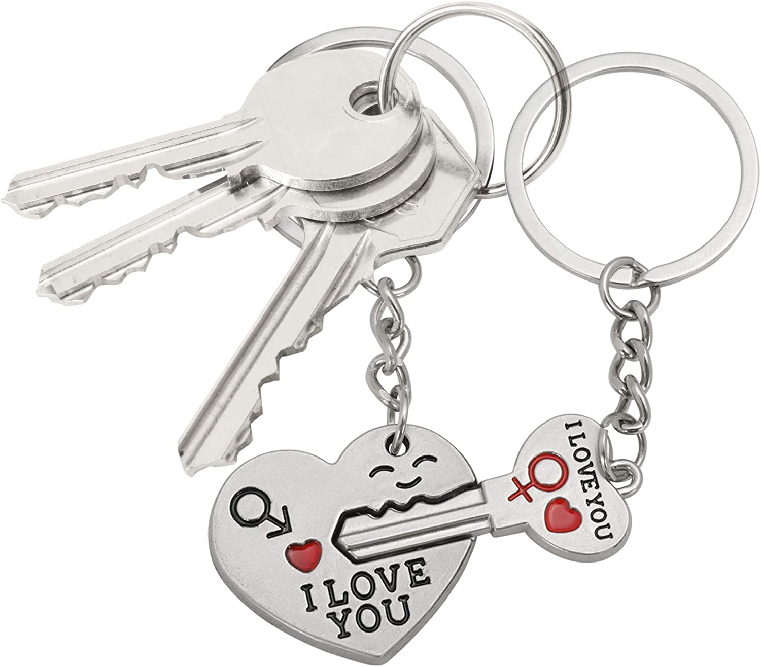 TRIXES Valentines Keyring Cupids Arrow to the Heart Key Chain Couples ring