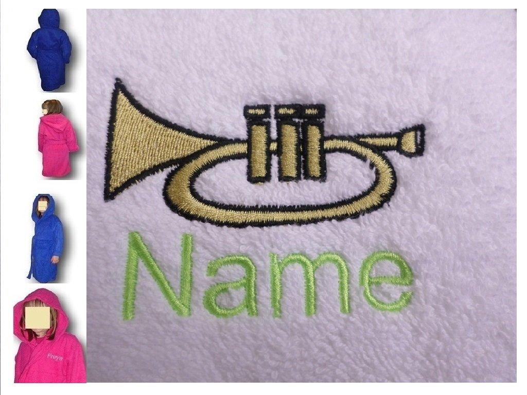 Albornoz con capucha infantil con una trompeta Logo y nombre de tu elección, edad 12 en rosa: Amazon.es: Hogar