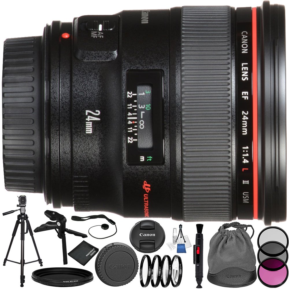 Canon EF 24mm f/1.4L II USM Lens 10PC Bundle – Includes 3 Piece Filter Kit (UV + CPL + FLD) + 4PC Macro Filter Set (+1,+2,+4,+10) + MORE