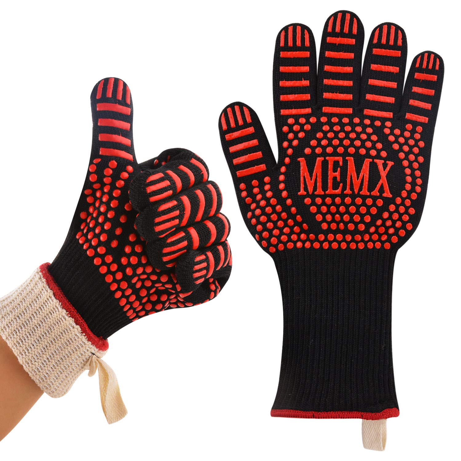 "MEMX Oven Gloves, Barbecue Gloves 1472°F Heat Resistant Grill Gloves, Extreme Kitchen Cooking Oven Mitts, Finger Flexibility 13"" Extra Large Long Cuff EN407 Certified Gloves Aramid & Silicone Non-Slip"