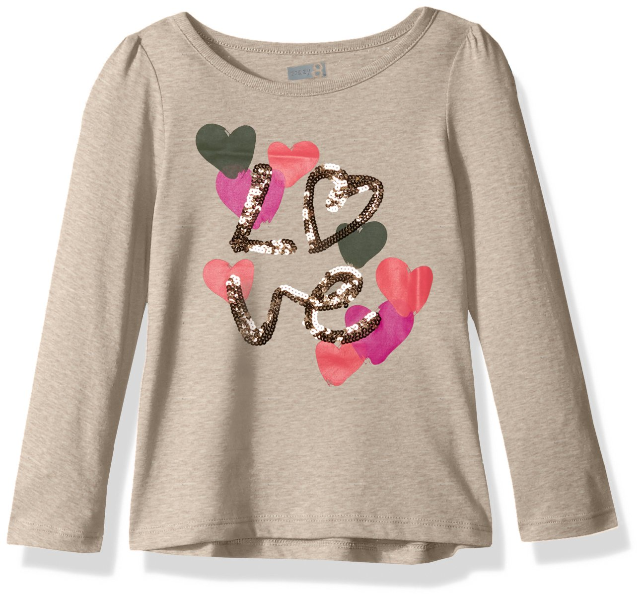 Crazy 8 Little Girls' Long Sleeve Sparkle Graphic Tee, Tan Love Print, S by Crazy 8 (Image #1)