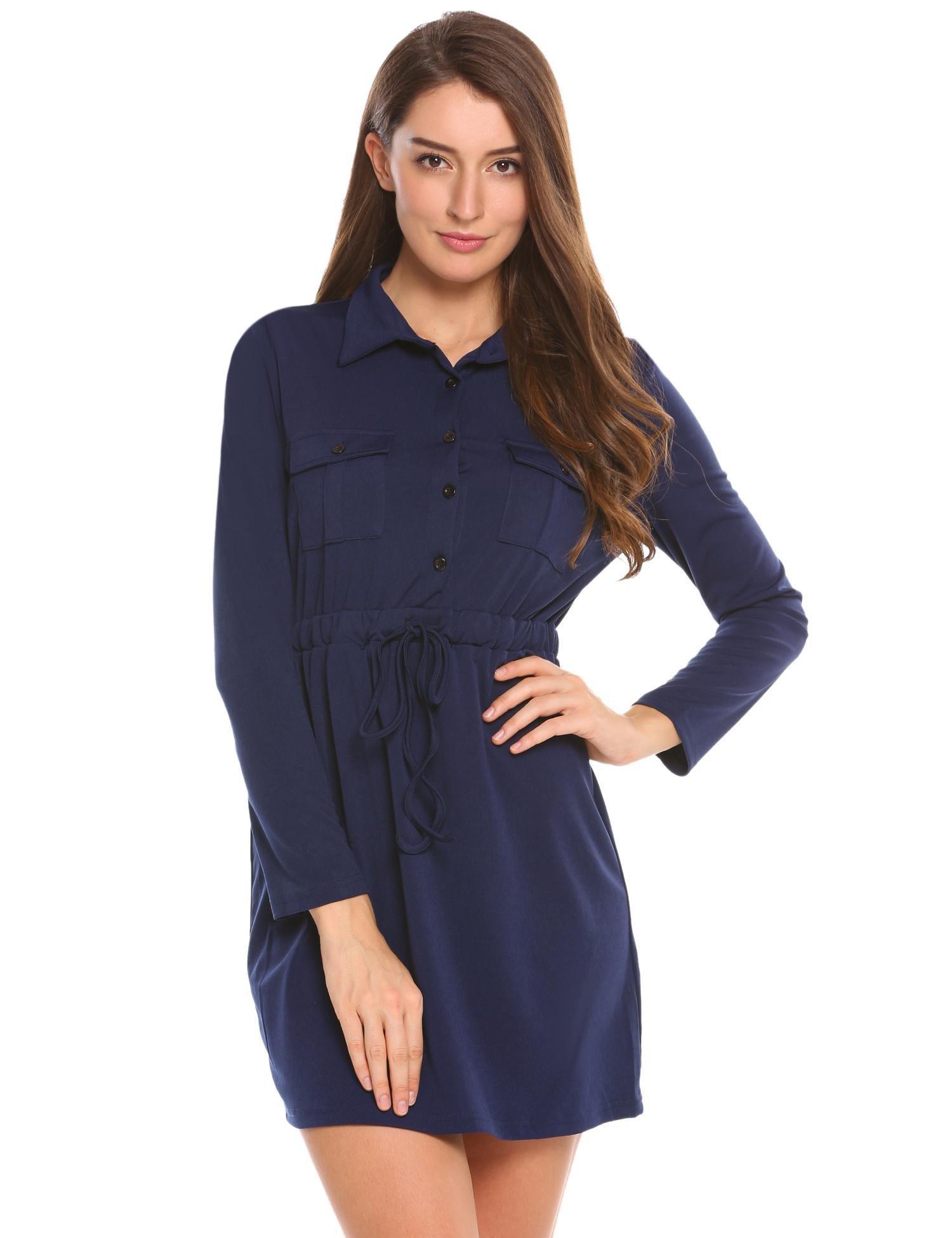 Misakia Women Shirts Button Down Long Sleeve Shift Mini Dress Long Tops (Navy Blue XL)