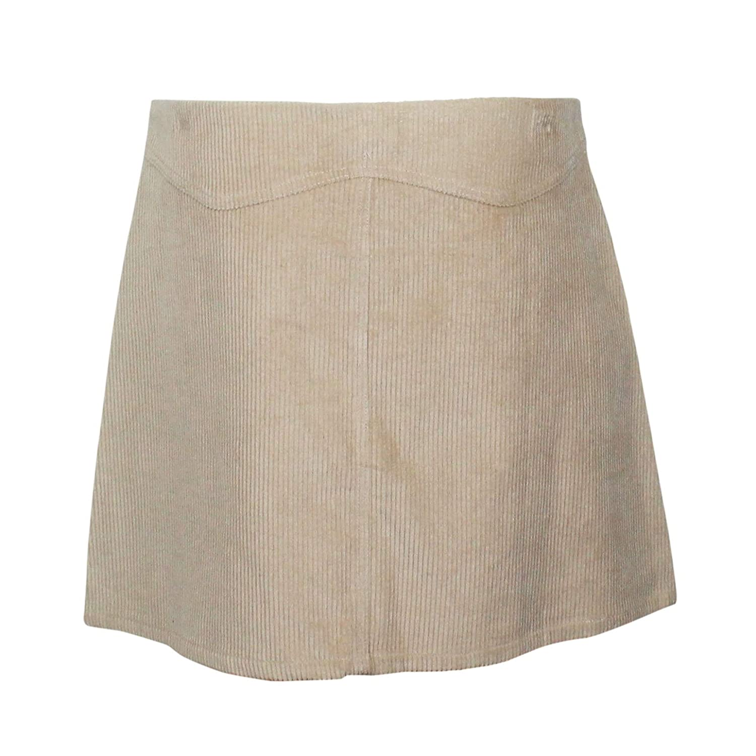 d12c19de6 She + Sky Womens Button Front Corduroy Mini Skirt Light Taupe Large at Amazon  Women's Clothing store: