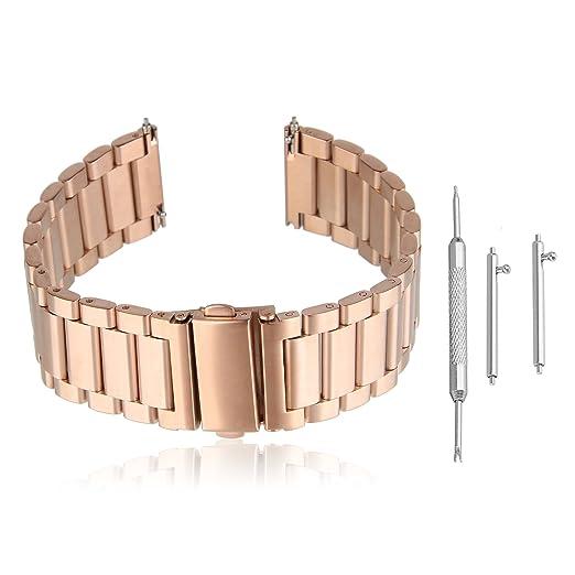 dcdf96edab29 Beauty7 Oro Rosa Regalo Metal Acero Inoxidable Sólido Correa para Reloj con  Metal Corchete Reemplazo de