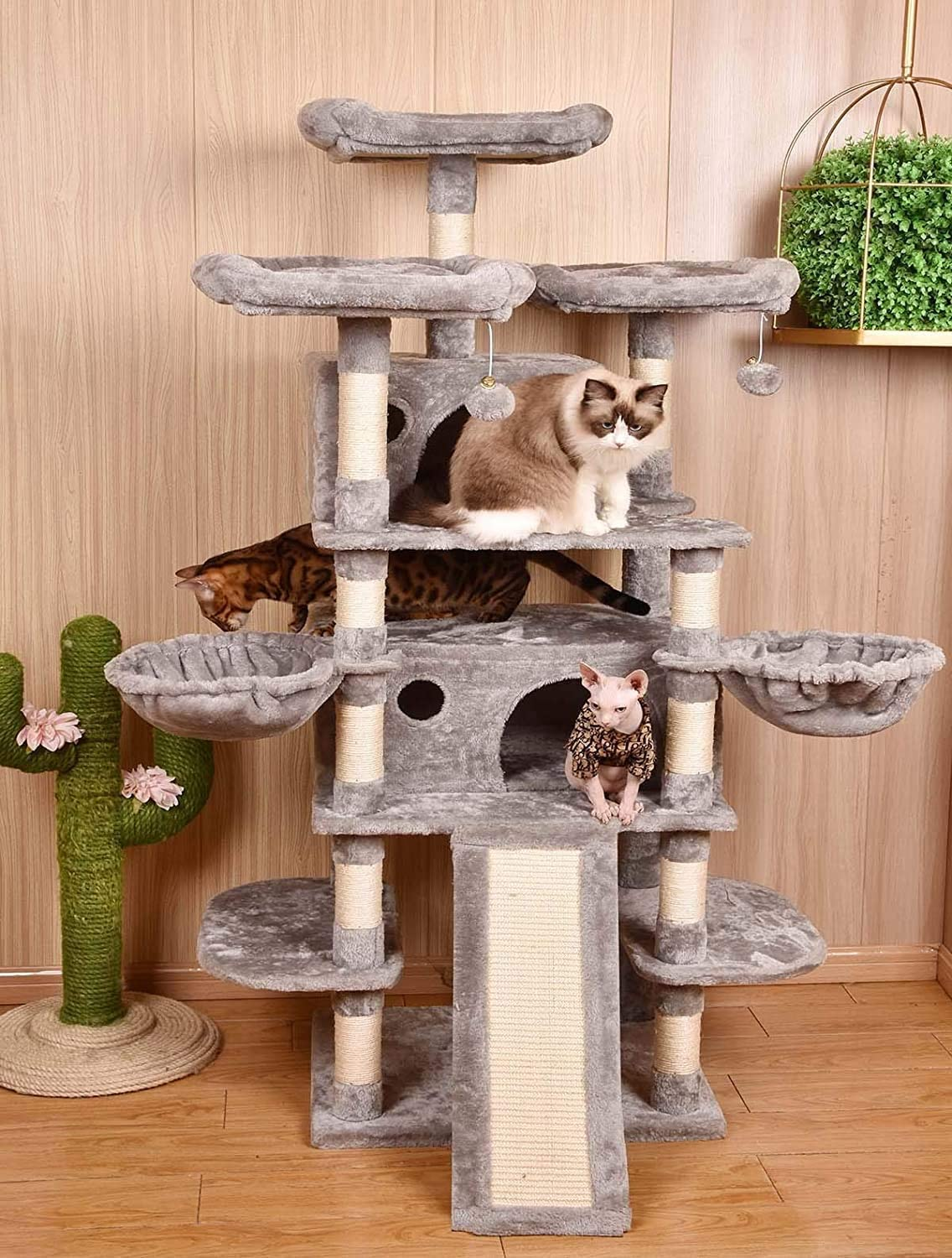 Amolife Heavy Duty 68 Inch Multi Level Cat Tree King X Large Size Cat Tower Cat Condo With Scratching Posts Kitty Pet Play House Suitable For Large Cat Big Cat Light Grey Pet