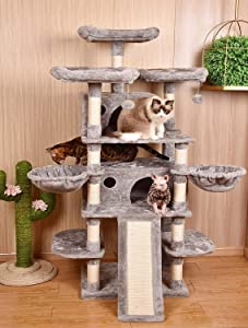 Amolife Heavy Duty 68 Inch Multi-Level Cat Tree King/X-Large Size Cat Tower with Scratching Posts Kitty Pet Play House, Suitable for Large Cat/Big Cat