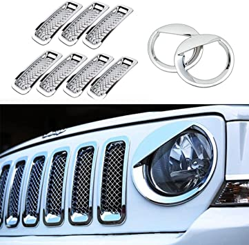 AVOMAR Front Grille Grill Mesh Grille Insert Kit Angry Bird Style Headlight Lamp Cover Trim For Jeep Patriot 2011-2016 Black Front Grill Mesh + Angry Bird Headlight Cover-3
