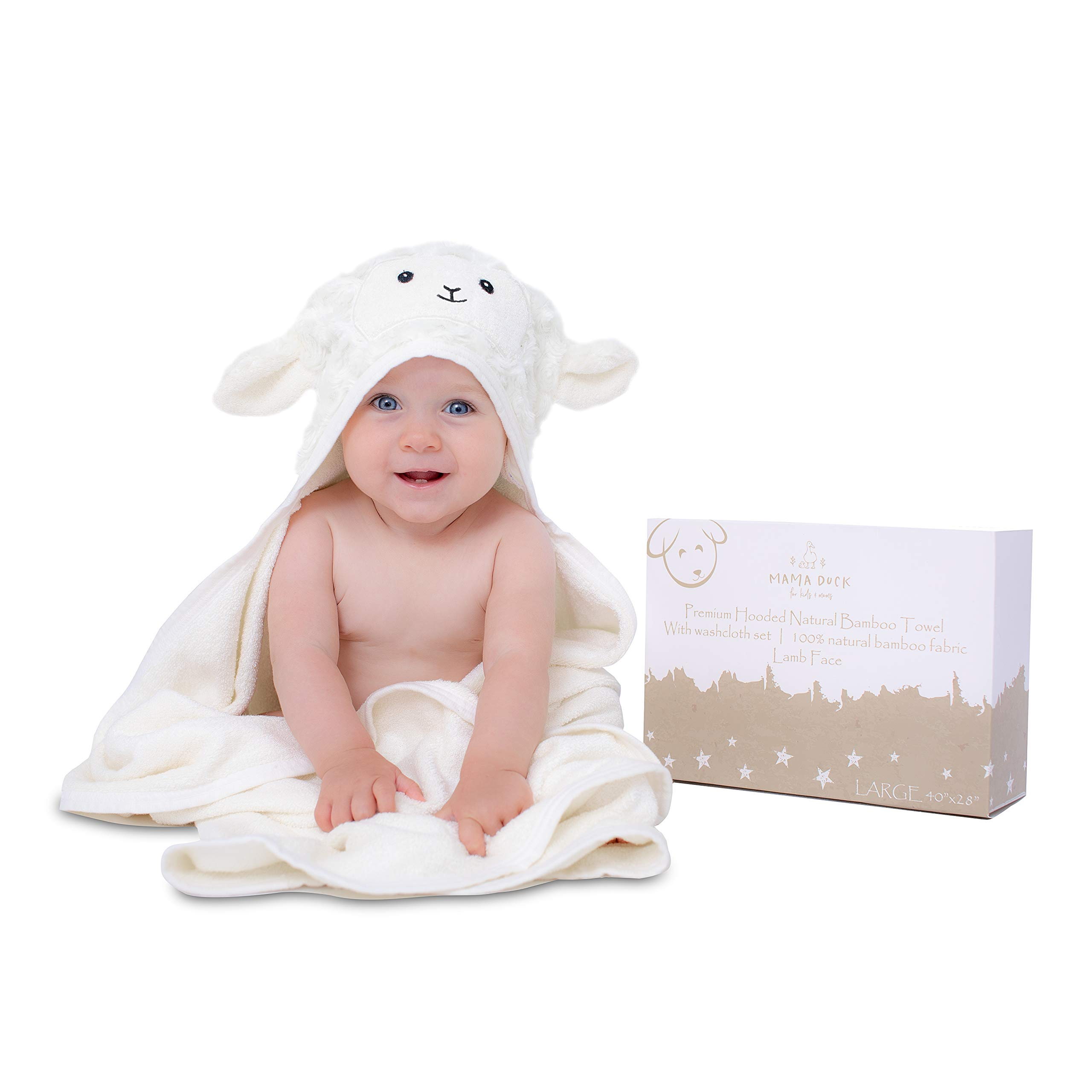 XL 40''X28'' Ultra Soft Rayon from Bamboo Baby Hooded Towel & Washcloth Set | Bamboo Infant Towel | Lamb | Thick, Soft & Ultra Absorbent | Newborn Baby Shower Gift Toddler, Boy & Girl Unisex by MAMA DUCK