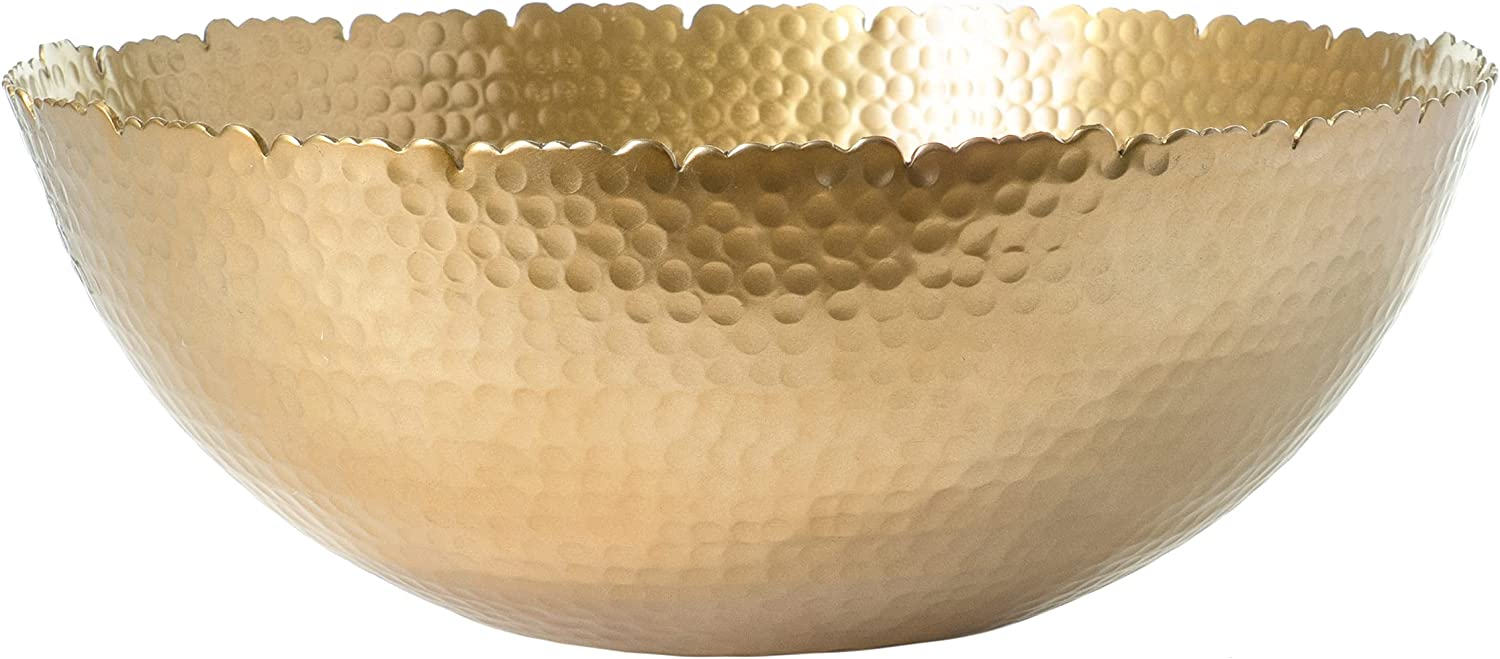 Red Co. Antique Style Tabletop Gold Textured Centerpiece Round Serving Platter Tray Catch-All Dish - 13 Inches Dia, for Dining Living Room Home Décor