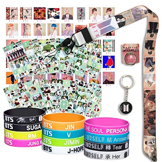 Bts Gifts Set For Army   40 Pcs Bts Map Of The Soul Photocard / 12 Bts Silicone Wrisbands Bracelets/ 12 Bts Stickers/ 1 Bts Phone Ring Holder/1 Bts Lanyard/ 1 Bts Keychain by Y Fresh