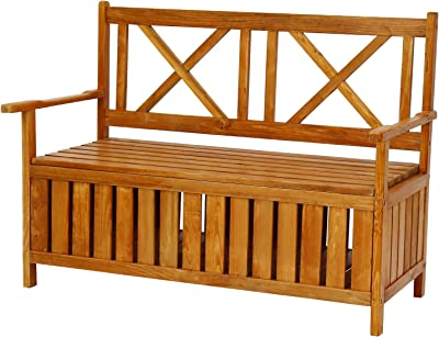 Peach Tree Patio Garden Outdoor Indoor Wooden Bench With Storage Cabinet