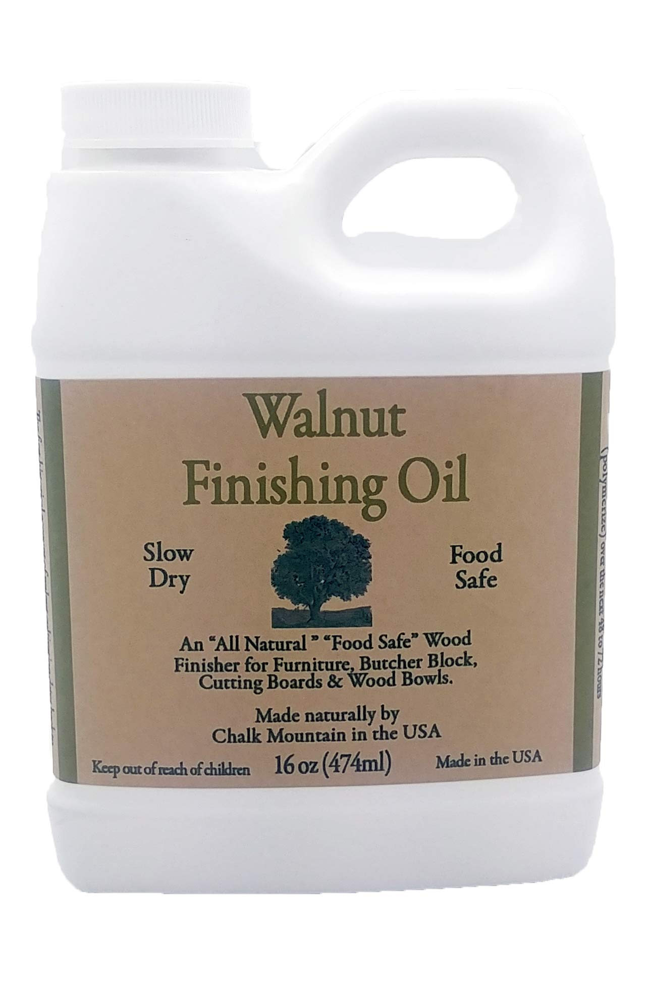 Chalk Mountain Walnut Oil Finisher - Food Safe - Great for Wood Bowls - Cutting Boards - Bare Wood - Much Much More (16 oz.)