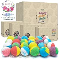 24 Organic & Natural Bath Bombs, Handmade Lush Bubble Bath Bomb Gift Set, Rich in Essential Oil, Shea Butter, Coconut Oil, Grape Seed Oil, Fizzy Spa to Moisturize Dry Skin, Perfect Gift idea For Women