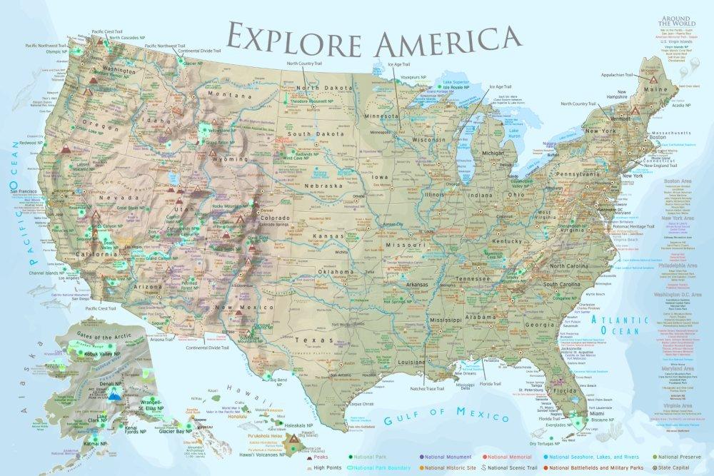 Amazon.com: GeoJango National Parks Map Poster - Lite Terrain ...