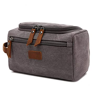Tumecos Men s Travel Toiletry Organizer Wash Bag Mens Canvas Toiletry Bag  Travel Bathroom Shaving Dopp Kit 16c1565ba3