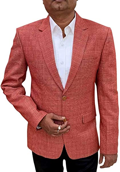 Amazon.com: INMONARCH Red Checks Blazer - Chaqueta deportiva ...