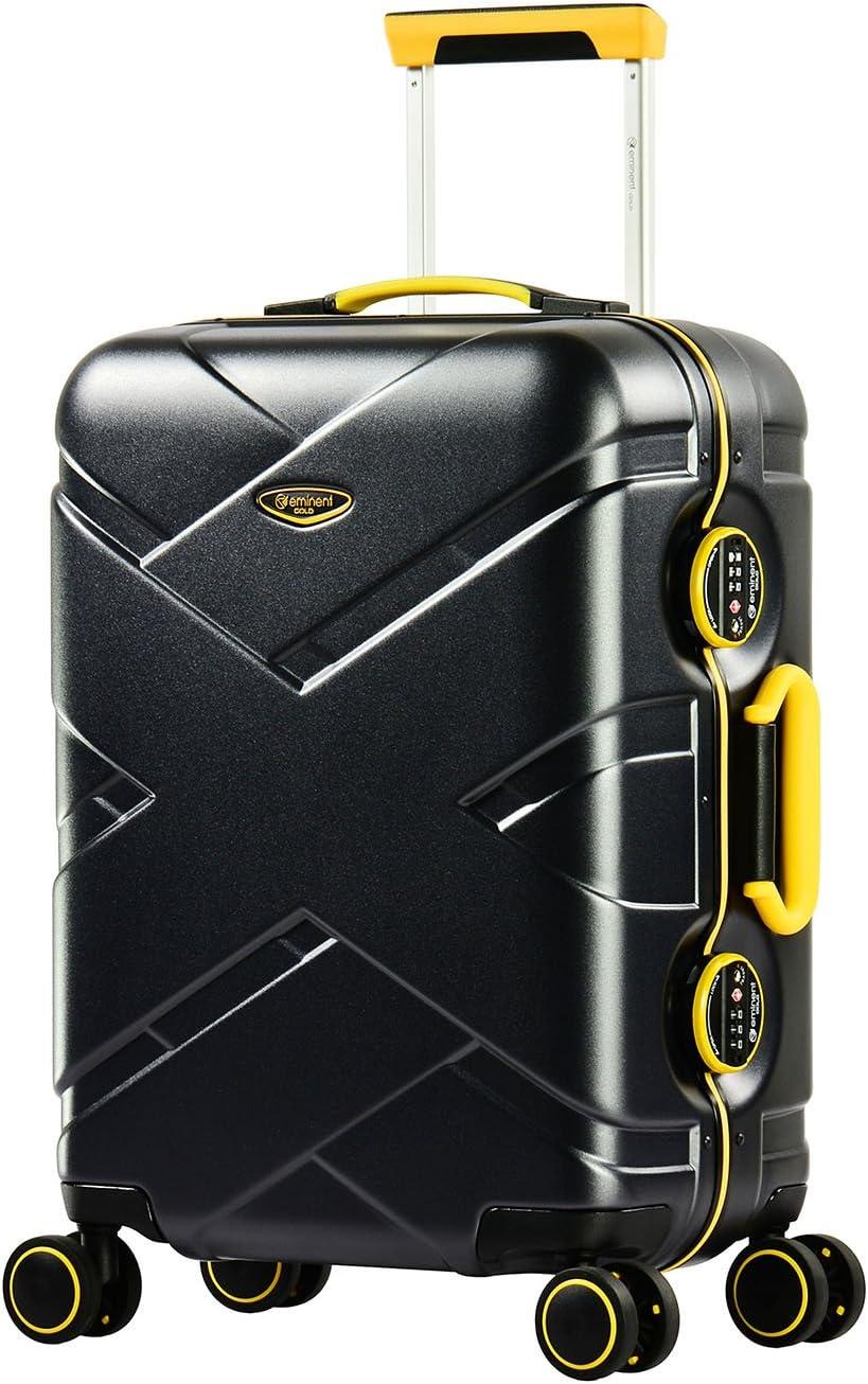 Eminent Gold Maleta Cabina Crossover 54 cm 39 L Policarbonato & Marco de Aluminio rígido 4 Ruedas giratorias 360° Negro/Amarillo