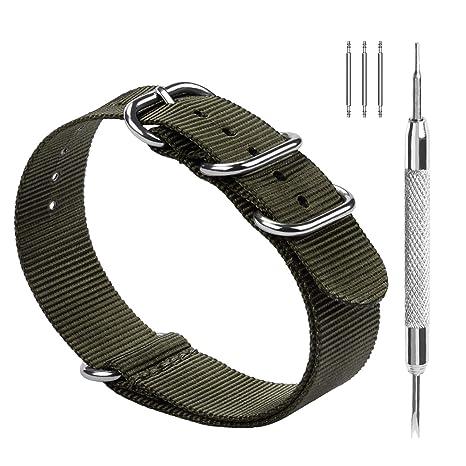 Fullmosa NATO 18mm 20mm 22mm 24mm Bracelet Montre pour Homme Femme, 10  Couleurs Montre Bracelet Nylon à Rayure avec Fermoir Métal Réglable, Vert