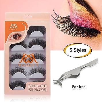 ca36e435c58 MAGEFY 5 Pairs Fake Eyelashes Reusable 3D Handmade False Eyelashes Set for  Natural Look with False