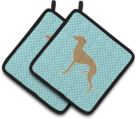 Amazon Com Caroline S Treasures Bb3714pthd Italian Greyhound Checkerboard Blue Pair Of Pot Holders 7 5hx7 5w Multicolor Kitchen Dining