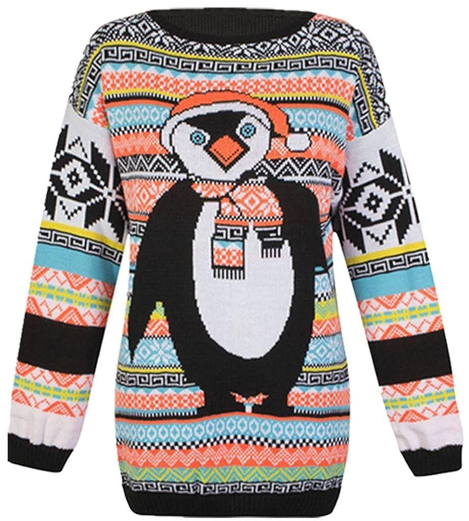 Funky Fashion Ladies Long Sleeves Christmas Unisex Penguin Sweater Retro Novelty Vinatage New Jumper(SM-XXXL)