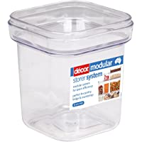 Décor Crystal Clear Stackable, Modular Food Storage Containers, 710mL, Square