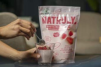 NATRULY Proteína Vegana BIO Fresa y Frambuesa, 76% Proteína, 100% Natural Sin Azúcar, Sin Gluten, Sin Lactosa -350g (antes Natural Athlete)