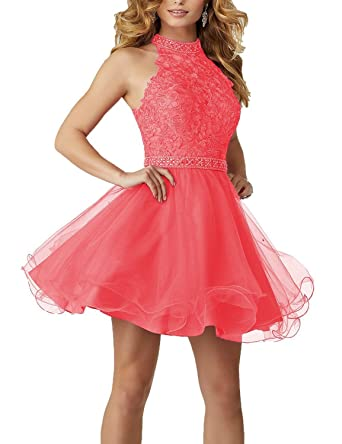 6924b80a917b Aurora Women's Tulle Beading Homecoming Dresses 2018 Short Prom Gown Size 2  Coral