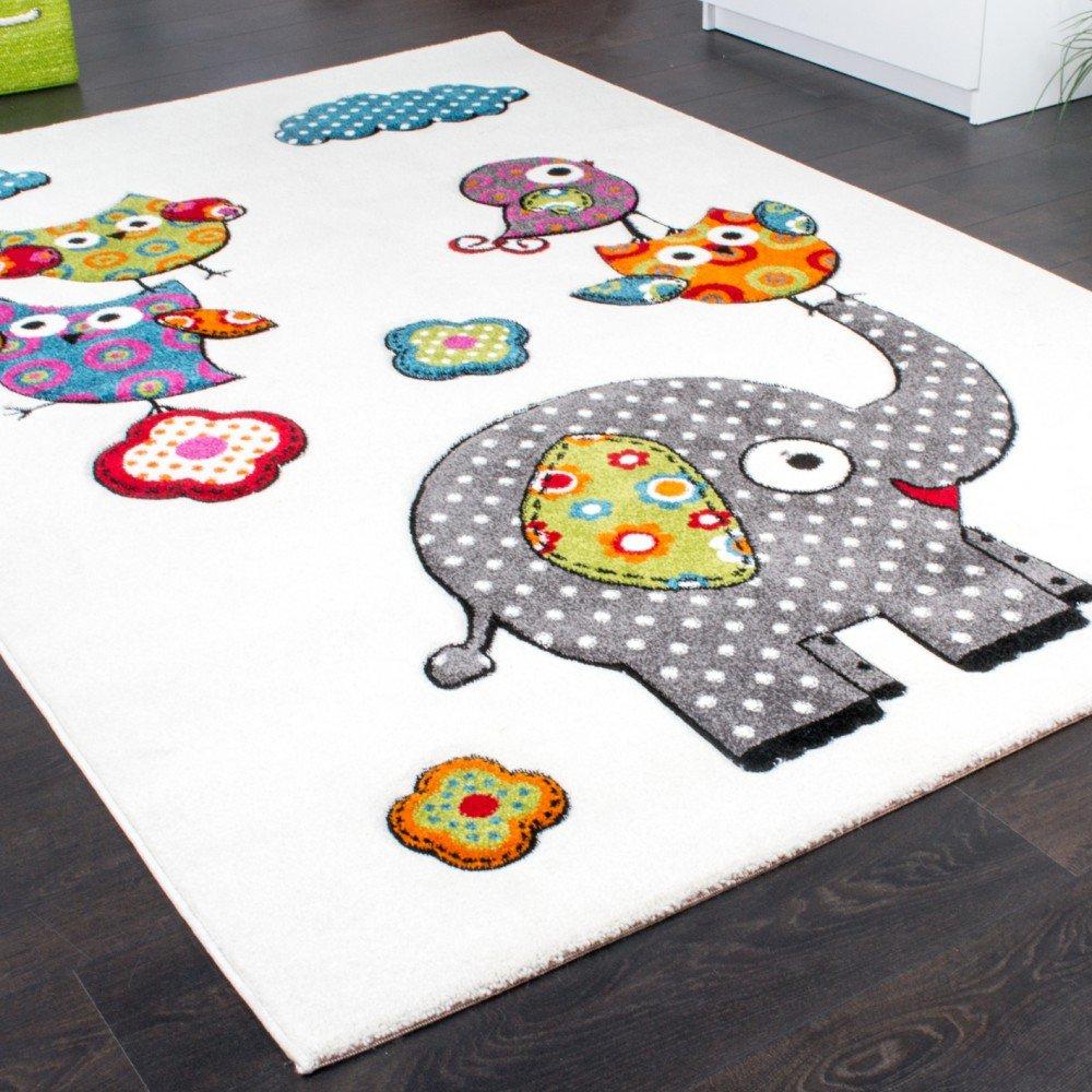 Paco Home Kinderzimmer Kinderzimmer Kinderzimmer Teppich Niedliche Bunte Zootiere Eulen mit Elefanten Mehrfarbig, Grösse 160x220 cm cb7dc3