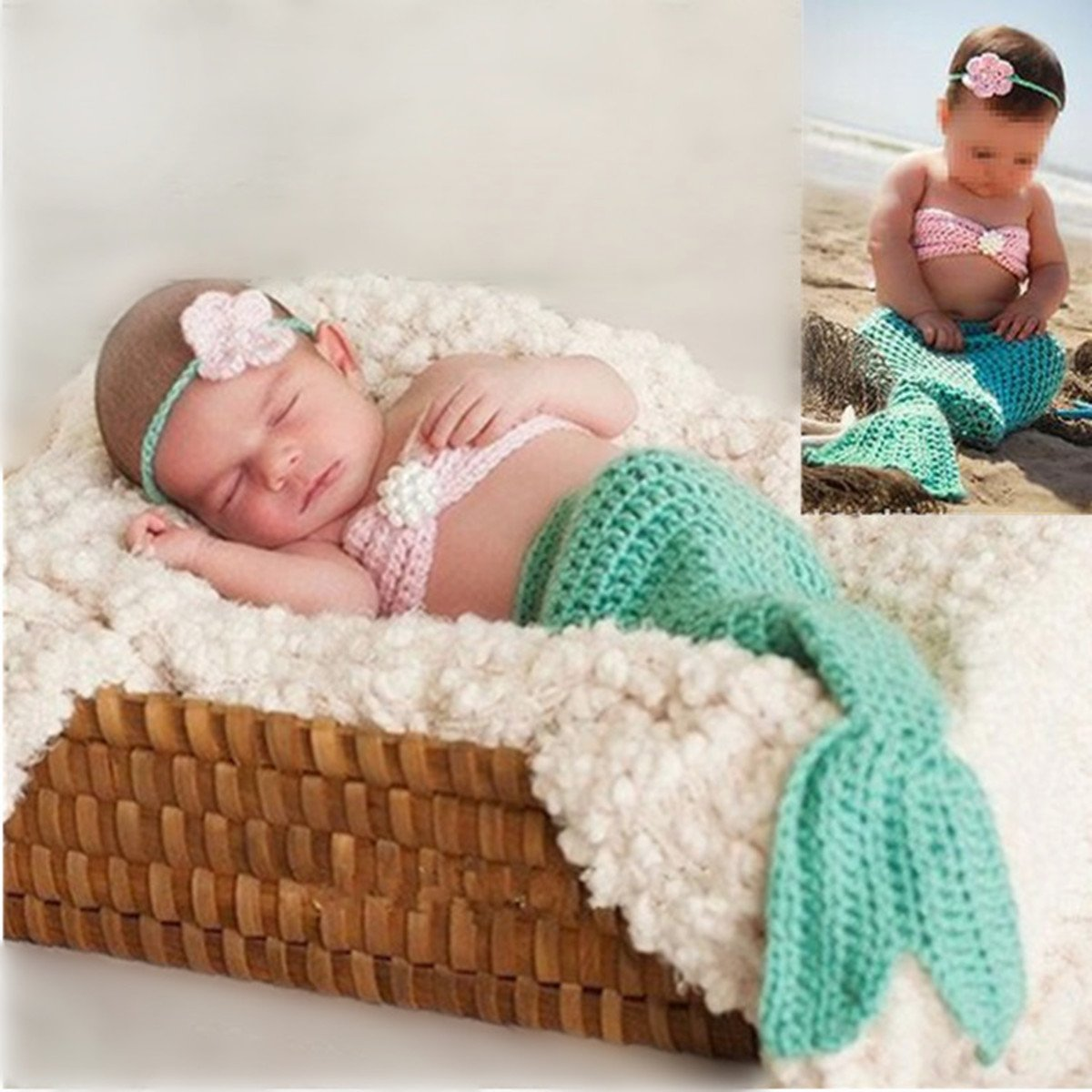 M&G House Fashion Newborn Baby Photography Prop Handmade Crochet Mermaid Headband Bra Tail Outfit by M&G House