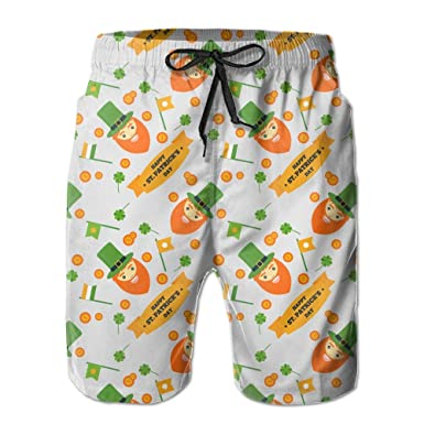 289e208fa3b9a Image Unavailable. Image not available for. Color: ST.Patrick's Day Stretch Mens  Boardshorts Swim Trunks Men Tropical Gym Soccer Board ...