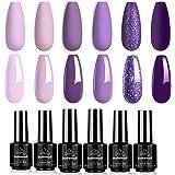 BabeNail Gel Nail Polish Set - 6 PCS Autumn Winter Lavender Purple Glitter Gel Polish Kit Provence Colors Soak Off UV…
