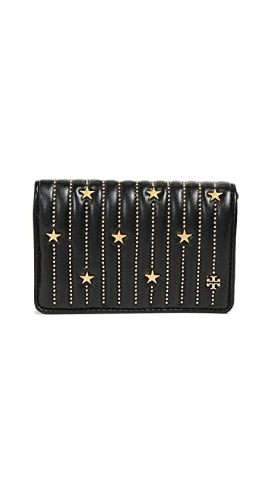 53f21015e29 Image Unavailable. Image not available for. Color  Tory Burch Women s Star  Stud Black Leather Gold Slim Medium Wallet