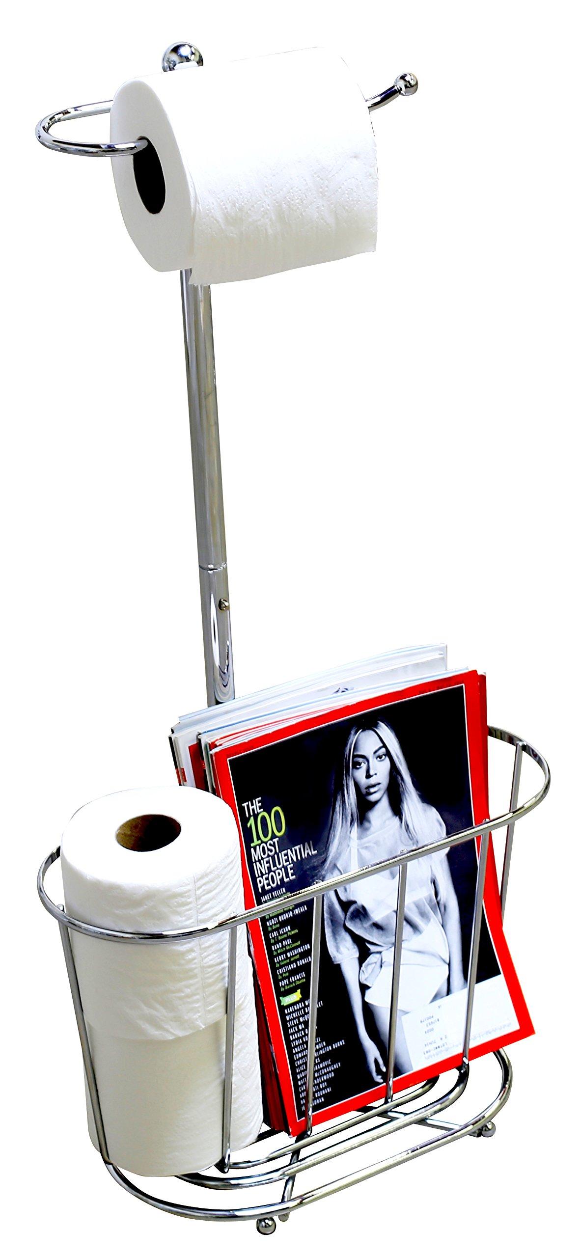DecoBros Toilet Tissue Paper Roll Holder, Chrome Finish