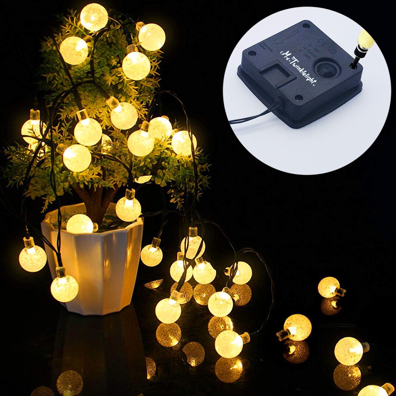 No/ël /étanche mariage Mr.Twinklelight/® Guirlande lumineuse solaire 42 LED pour ext/érieur cour Blanc chaud etc boule de cristal d/écorative pour jardin f/ête maison