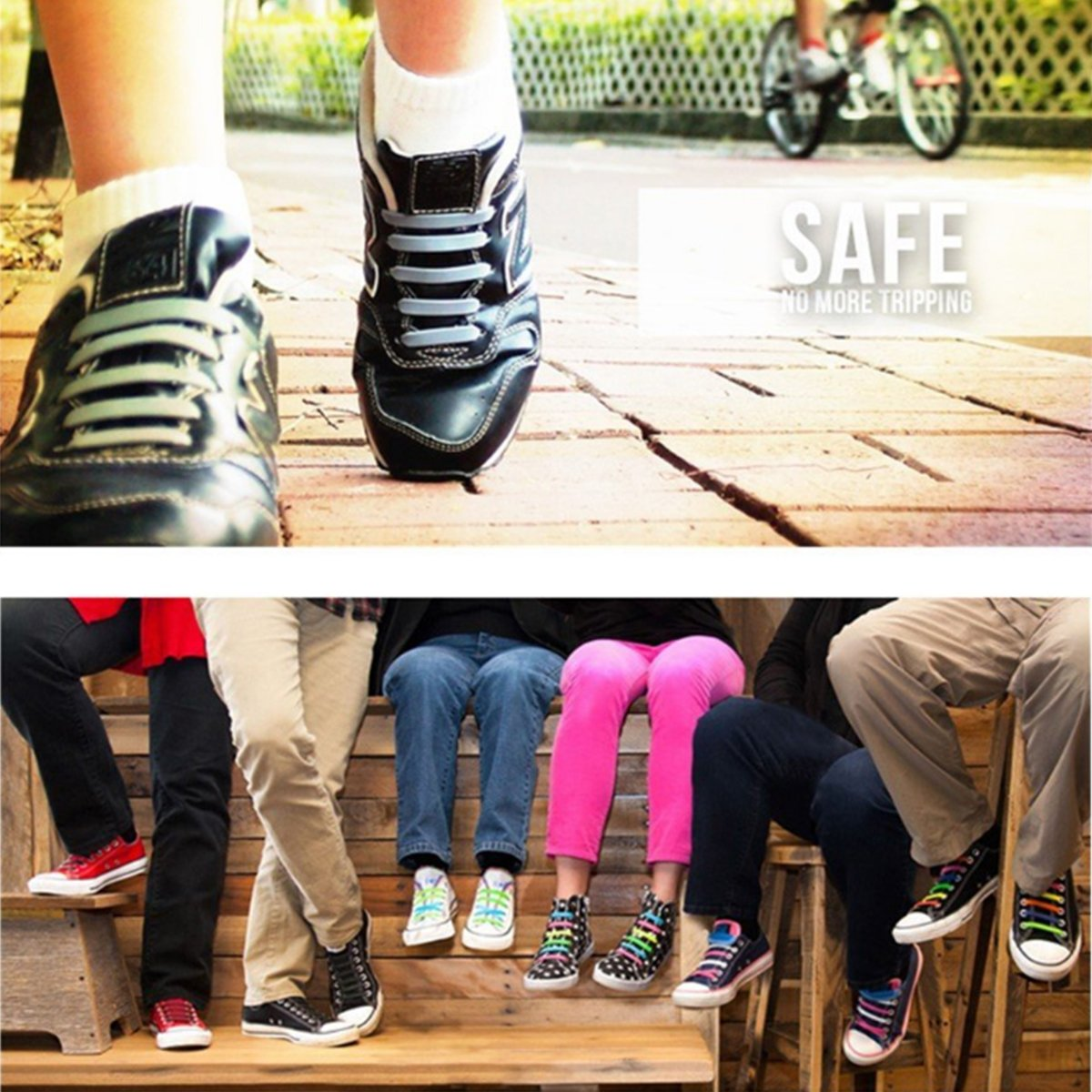 Silicone No Tie Shoelaces - Elastic Silicone Flat Shoelaces for Sneakers No Tie, Tieless Black Shoelaces for Boots/ Hiking Boots/ Dress Shoes