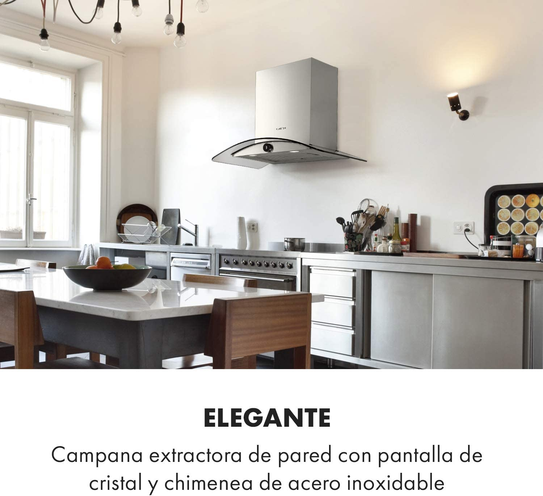 Klarstein Luna extractor de humos de pared – 60 cm, iluminación de la cocina, extracción de 420 m³/h, 3 niveles, control por botón giratorio, clase C, apto para la ventilación, plateado/negro: Amazon.es: