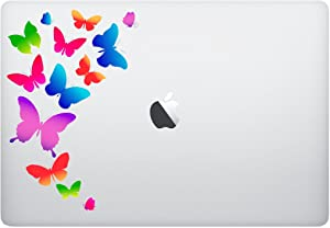 Epic Designs Laptop Sticker - Colorful Butterflies Flying Away- Matte Black Skins Stickers