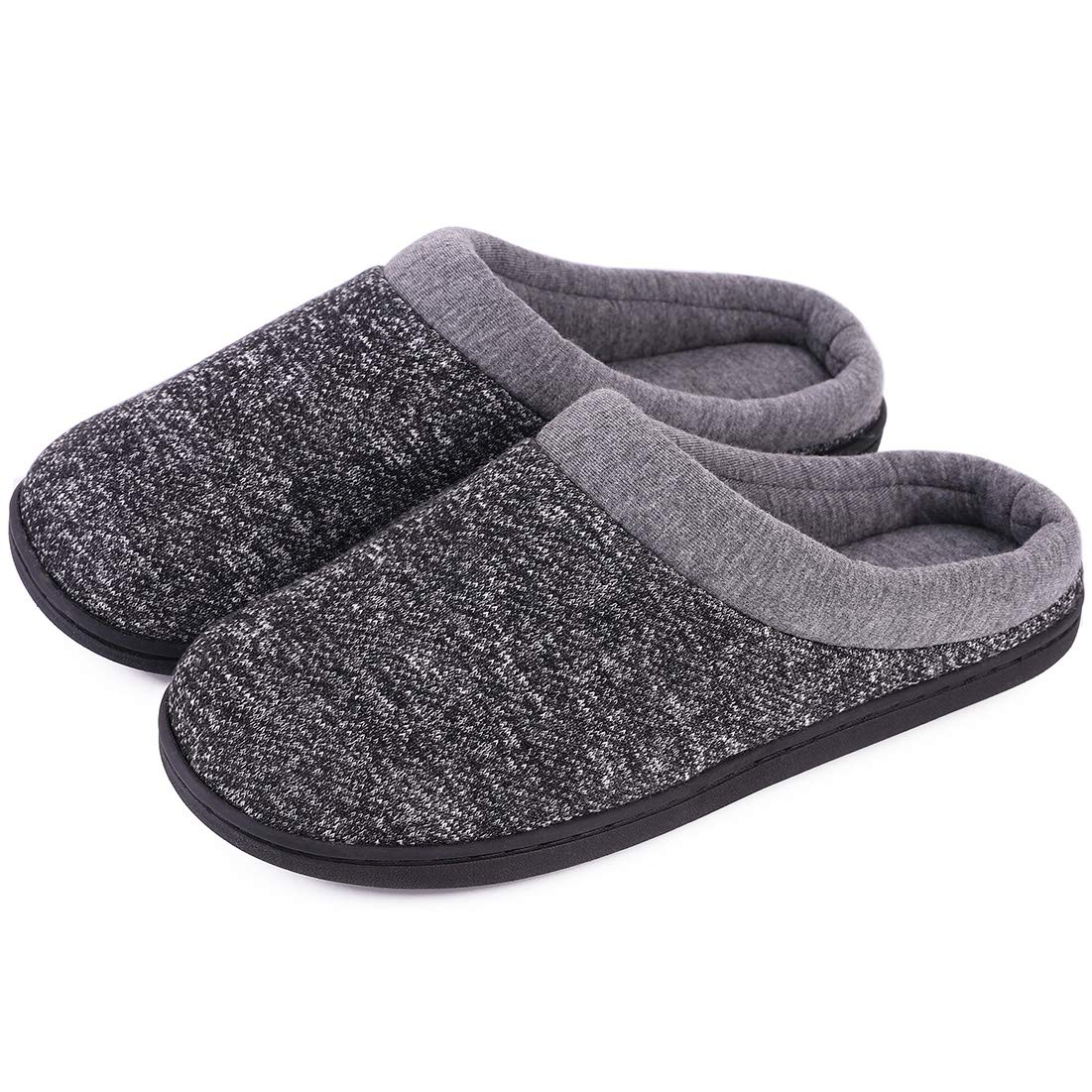 Women's Comfort Slip On Memory Foam Slippers French Terry Lining House Slippers w/Anti Slip Sole (7-8 M US, Space Black)